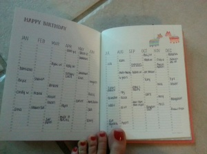 the yearly date page, excuse my toes